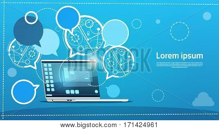 Laptop Computer Chat Bubble Social Network Communication Concept Flat Vector Illustration