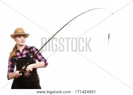 Focused Woman In Sun Hat Holding Fishing Rod