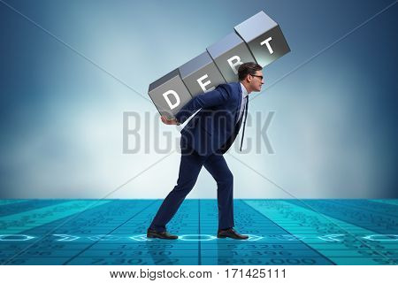 Businessman under heavy debt burden