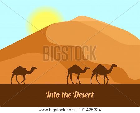 Desert landscape. Camel silhouettes on sand background. In the desert. Vector illustration in flat style