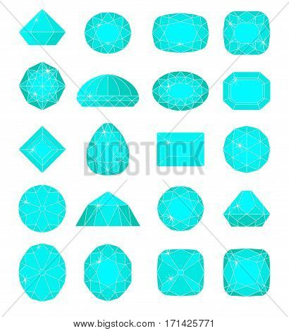 Diamond symbols. Blue gems isolated on white background. Vector illustration.