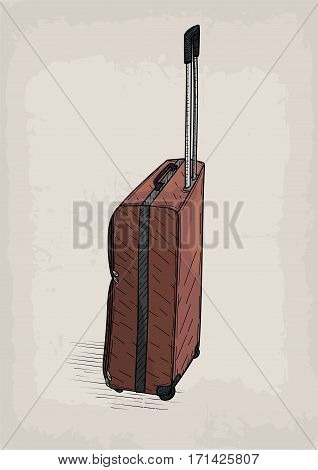 Bag travel traveling brown color valise wheels retro design stylish design line linear drawing.Vector closeup square beautiful fashion trendy line art illustration sign view isolated beige background
