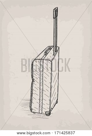Bag travel traveling valise castors wheels retro design stylish design line linear drawing. Vector closeup square beautiful fashion trendy line art illustration sign view isolated beige background