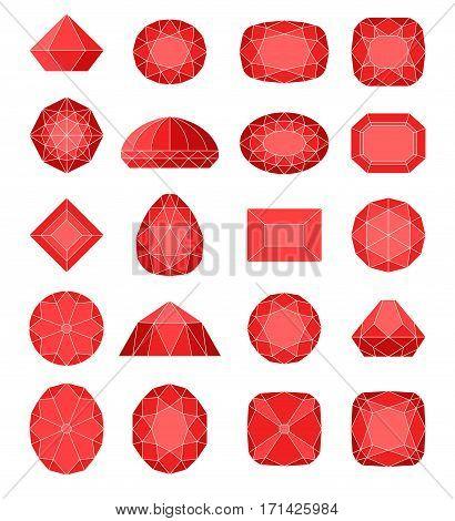 Diamond symbols. Red gems isolated on white background. Vector illustration.
