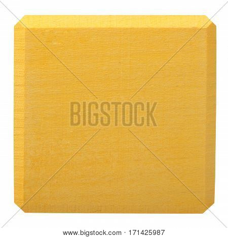 Yellow wooden block isolated on white background. Flat lay
