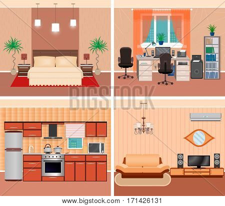 House interior living room domestic workplace bedroom and kitchen. Home rooms design including furniture and electonics. Flat vector illustration.