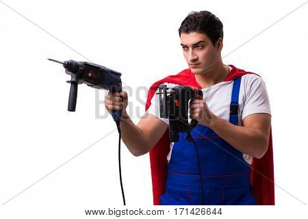 Super hero repairman isolated on the white