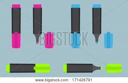 Permanent text highlight marker in three different colors: pink blue green. Office stationery. Flat style vector illustration.