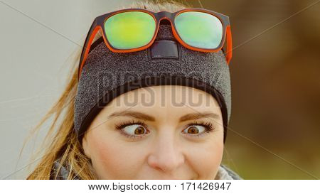Funny Girl Making Squinting Eyes