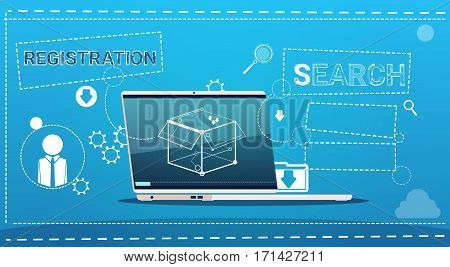 Laptop Computer Data Search Registration Concept Flat Vector Illustration