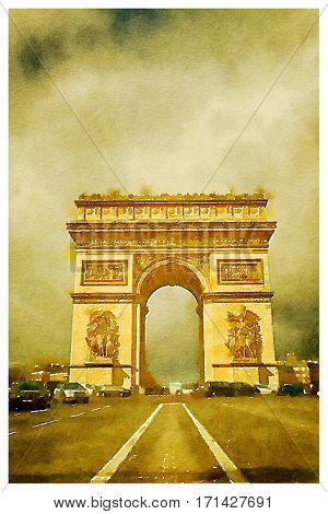 Digital watercolour of Triumphal arch in Paris, France