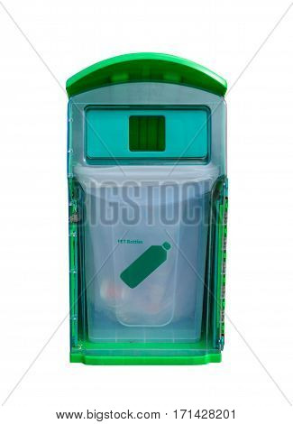 Green recycle bin for PET bottles isolated on white background. Waste management concept