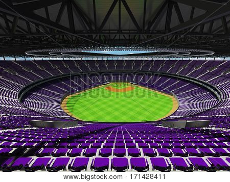 3D render of beautiful modern baseball stadium with purple seats for hundred thousand people with VIP boxes
