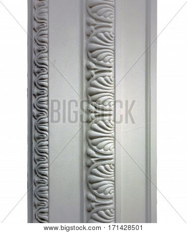 white classic architectural decorative gypsum cornice white background isolated