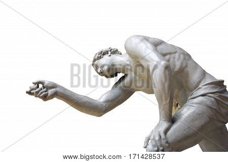 antique plaster sculpture of a man pointing his hand forward isolated on white background
