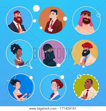 Profile Icon Avatar Image Group Business People Diverse Ethnic Mix Race Banner Flat Vector illustration