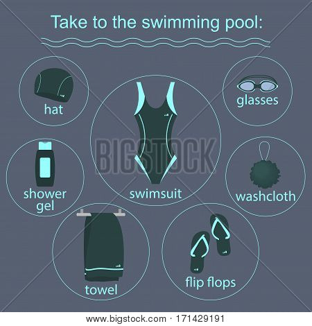 clothing and accessories for swimming pools. vector