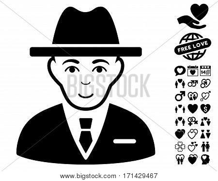 Agent icon with bonus decorative clip art. Vector illustration style is flat iconic black symbols on white background.