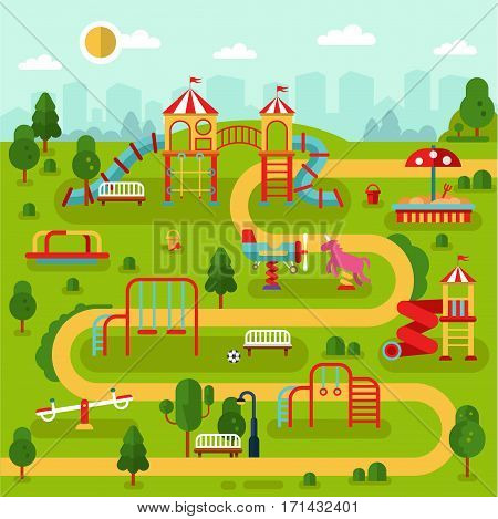 Flat design vector landscape illustration of park map with kids playground and attractions with swings, slides and tube, carousel. Infographic design of amusement park for children.