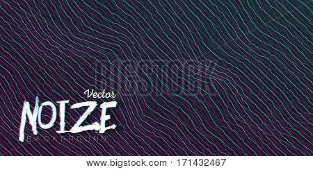 Illustration of Digital Noize Glitch Lines Background. Music Signal Wave Distortion Vector Template