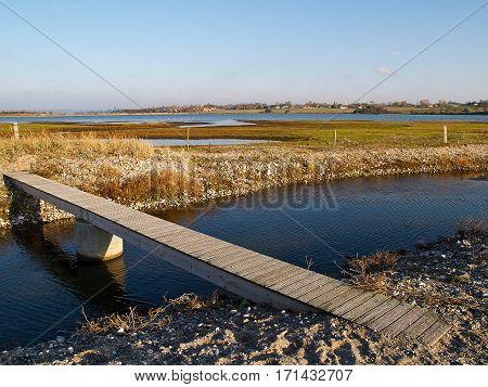 Small modern design wooden bridge in green lake nature reserve surroundings