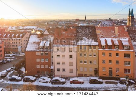 City panorama from Castle of Nuremberg. Winter sunny landscape, Bavaria, Germany
