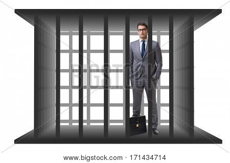 Businessman in the cage isolated on white
