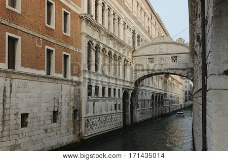 The bridge of Sighs one of the most famous landmarks of Venice Venice Veneto Italy Europe