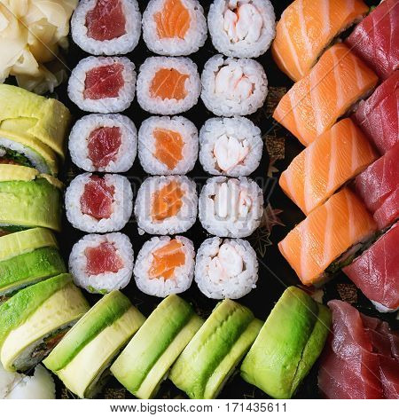 Set Of Sushi As Background
