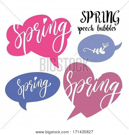 Speech bubbles set with Spring handwritten word. Hand drawn vector.