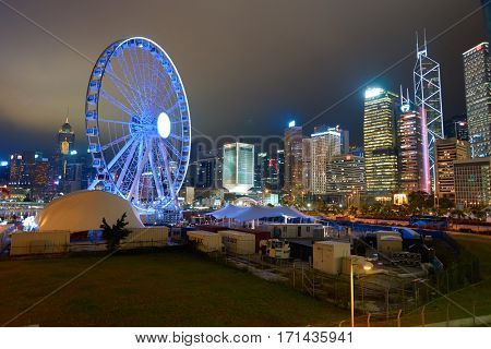 HONG KONG - CIRCA NOVEMBER, 2016: Ferris Wheel in Hong Kong at night. The Hong Kong Observation Wheel is located in Central, Hong Kong.