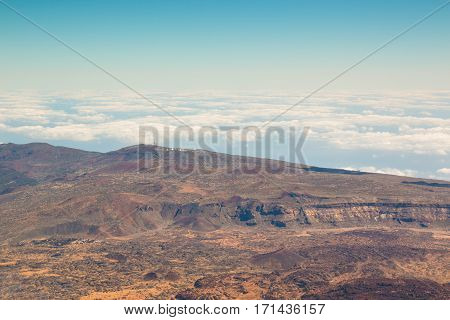 View at the top of the volcano Teide in Tenerife Spain