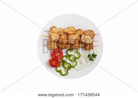 chicken skewers traditional Georgian dish white background top view isolated