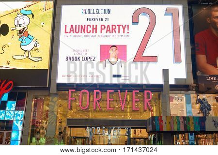NEW YORK, NY - MARCH 14, 2016: Forever 21 at Times Square. Forever 21 is an American fast fashion retailer.