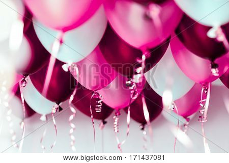 colourful balloons, pink, white, red streamers isolated on white