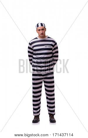 Man prisoner isolated on white background