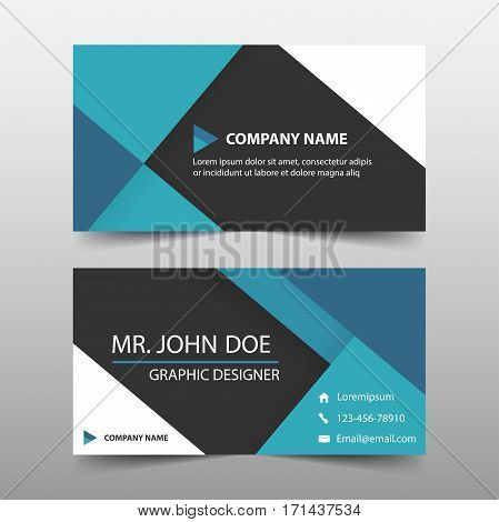 Blue corporate business card name card template horizontal simple clean layout design template Business banner template for website