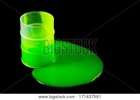 Green Slime Spills Out Of Barrel