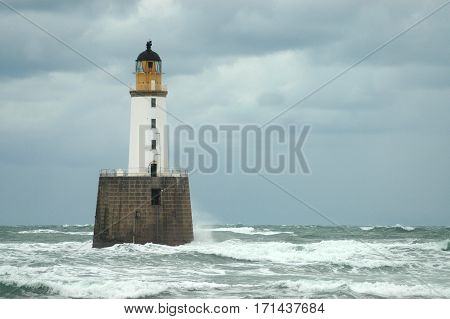 Rattray Head Lighthouse, an example of a famous Stevenson lighthouse, Scotland.