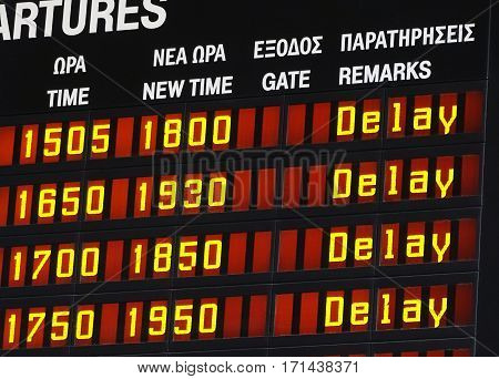 Information display with a delay message on an airport