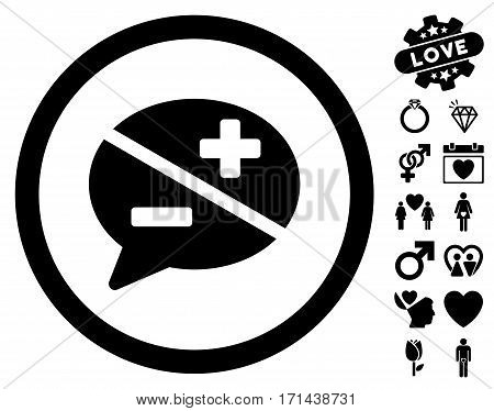 Arguments icon with bonus decorative graphic icons. Vector illustration style is flat iconic black symbols on white background.