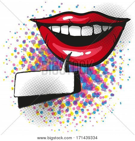 Smiling red lips with teeth and pop art comic speech bubble vector