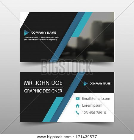 Blue black corporate business card name card template horizontal simple clean layout design template Business banner template for website