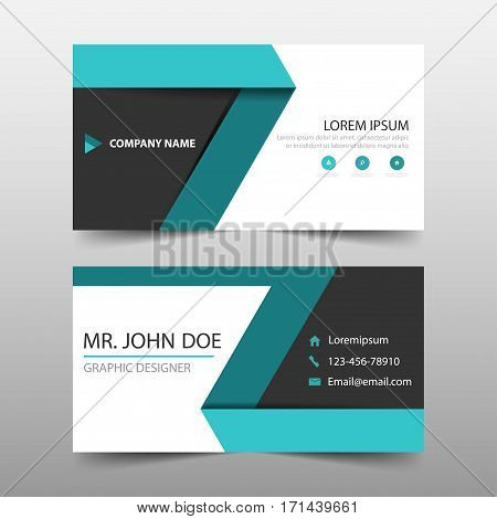 Green label corporate business card name card template horizontal simple clean layout design template Business banner template for website