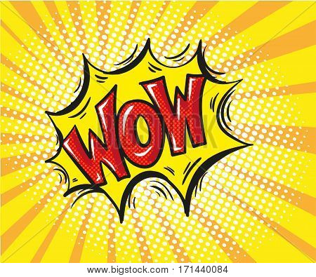 Wow - Comic book, cartoon expression vector illustration