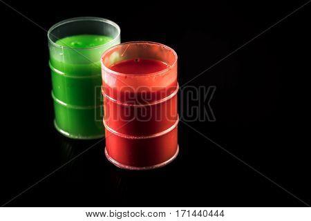 Green And Orange Barrels Of Slime