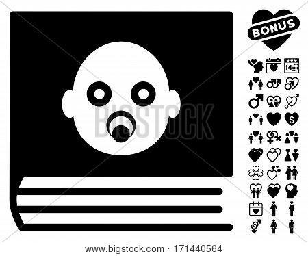 Baby Album pictograph with bonus decorative clip art. Vector illustration style is flat iconic black symbols on white background.