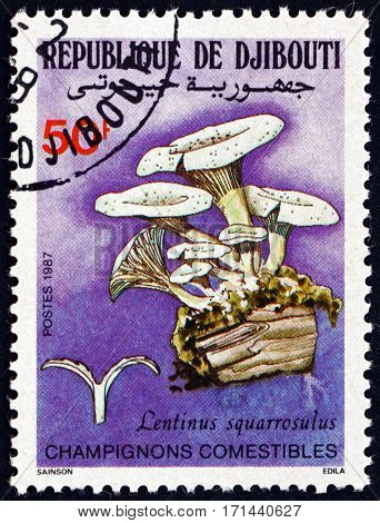DJIBOUTI - CIRCA 1987: a stamp printed in the Djibouti shows lentinus squarrosulus mushroom circa 1987