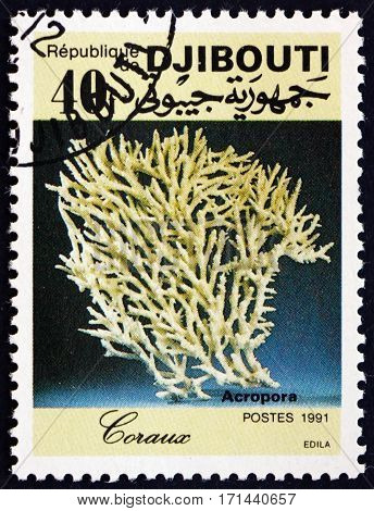 DJIBOUTI - CIRCA 1991: a stamp printed in the Djibouti shows Acropora coral circa 1991