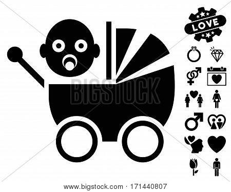 Baby Carriage icon with bonus dating design elements. Vector illustration style is flat iconic black symbols on white background.